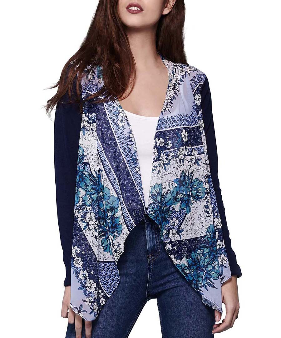 Blue print waterfall cardigan Sale - yumi