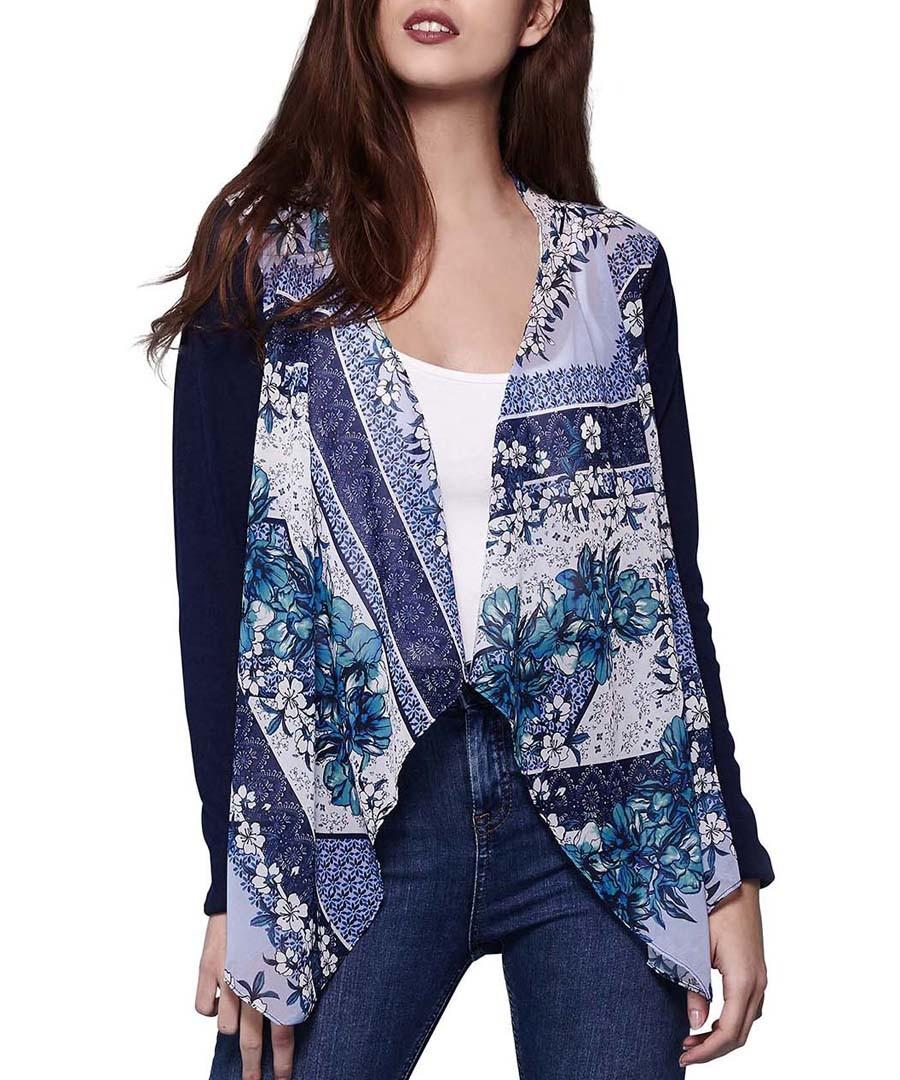 Blue print waterfall cardigan Sale - yumi