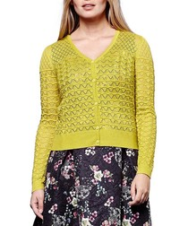 Lime pointelle cardigan