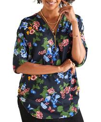 Butterfly print zip-front blouse