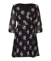 Flower print wrap front dress