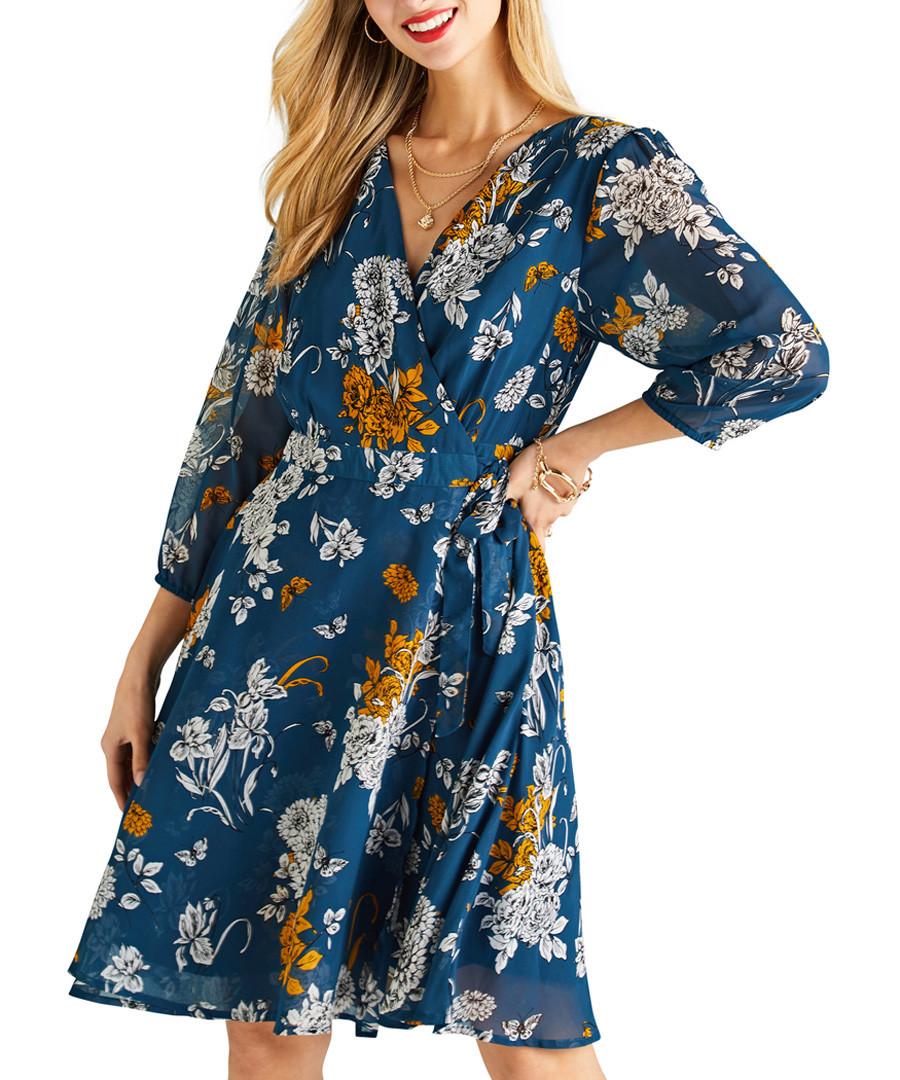 Teal floral print wrap front dress Sale - yumi