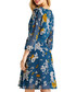 Teal floral print wrap front dress Sale - yumi Sale