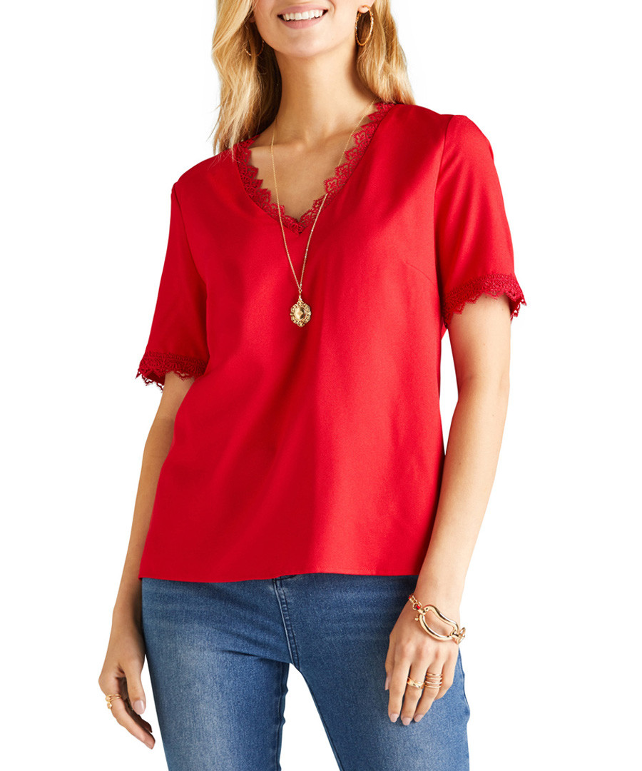 Red lace edged blouse Sale - yumi