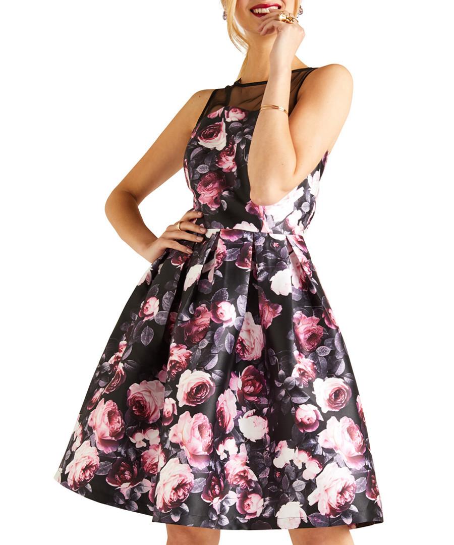 Pink floral A-line mesh top dress Sale - yumi