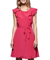 Fuchsia ruffle sleeve mini dress