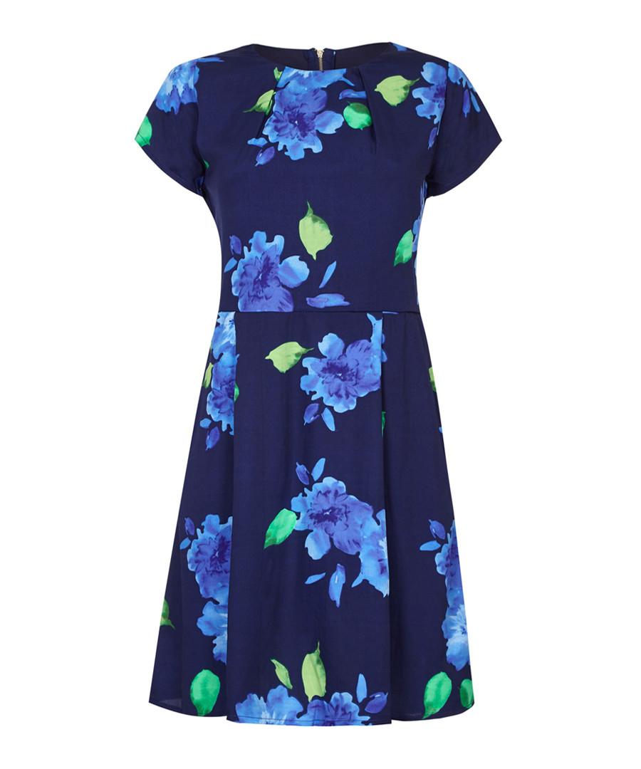 Blue floral print short sleeve dress Sale - yumi curve