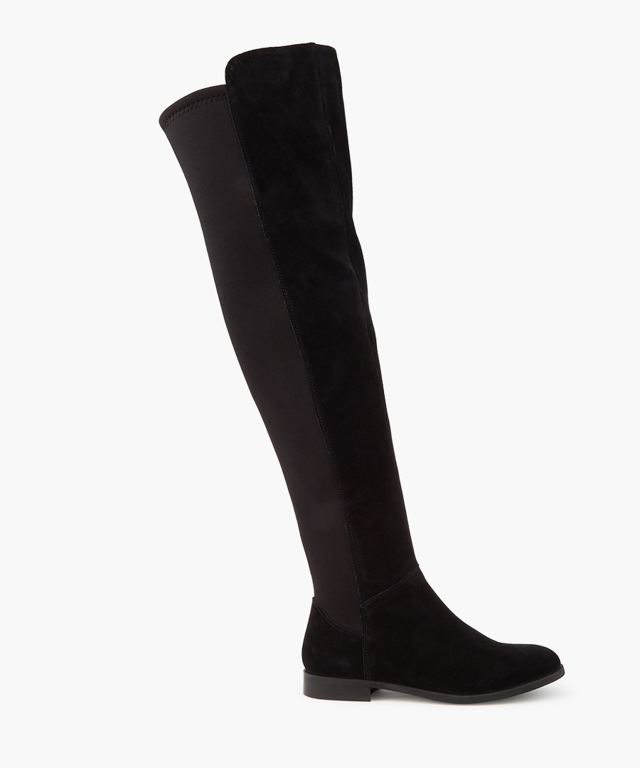 Black suede over-the-knee boots Sale - dune
