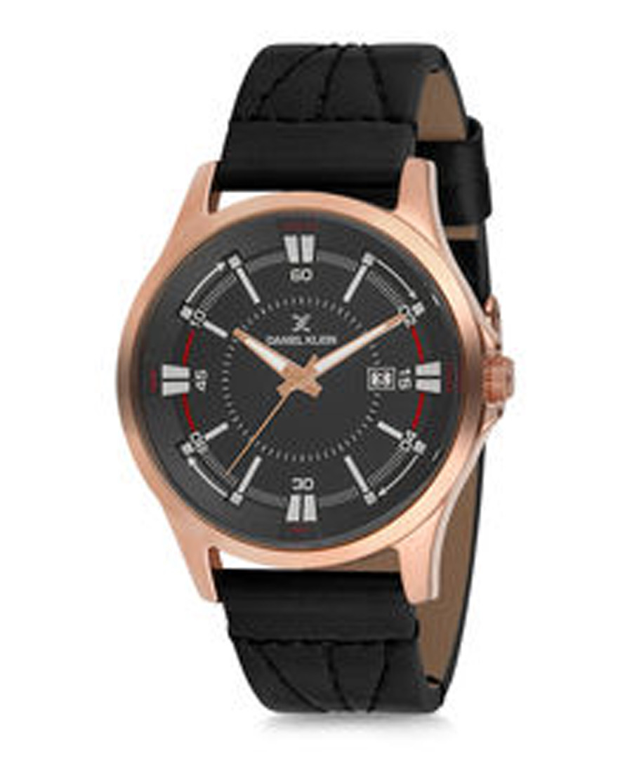Black leather & rose gold-tone watch Sale - daniel klein