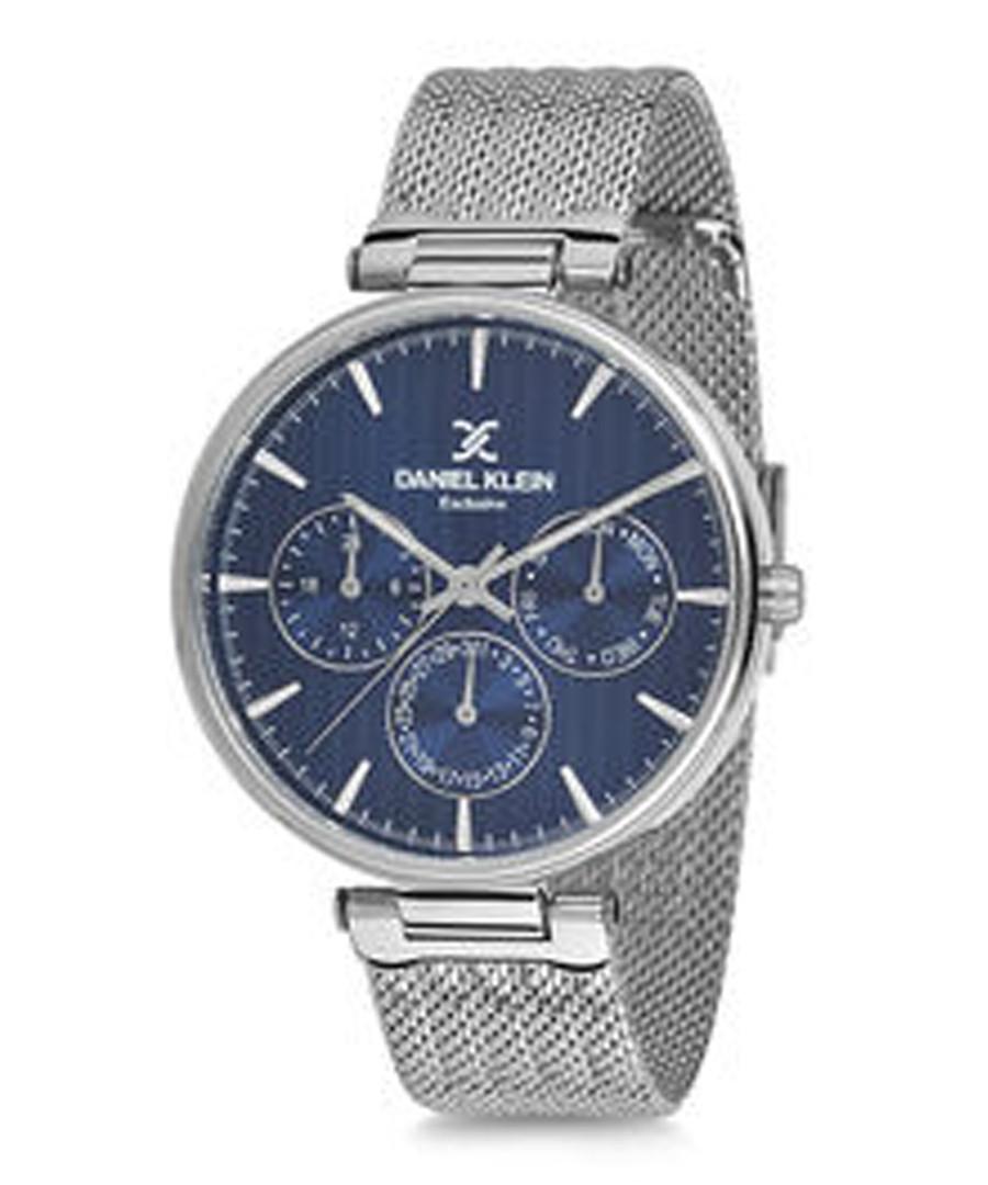 Silver-tone mesh strap & blue dial watch Sale - daniel klein