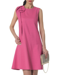 pink cotton blend shoulder detail dress