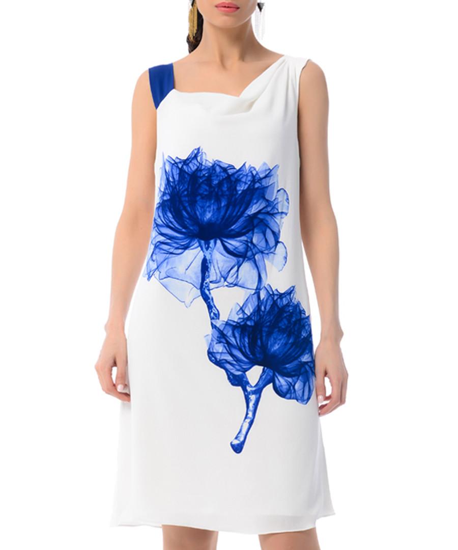 white & blue floral silk blend dress Sale - iren klairie