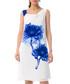 white & blue floral silk blend dress Sale - iren klairie Sale
