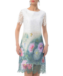 white & floral scene cotton blend dress