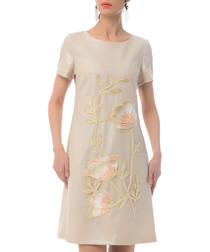 Beige floral cotton blend shift dress