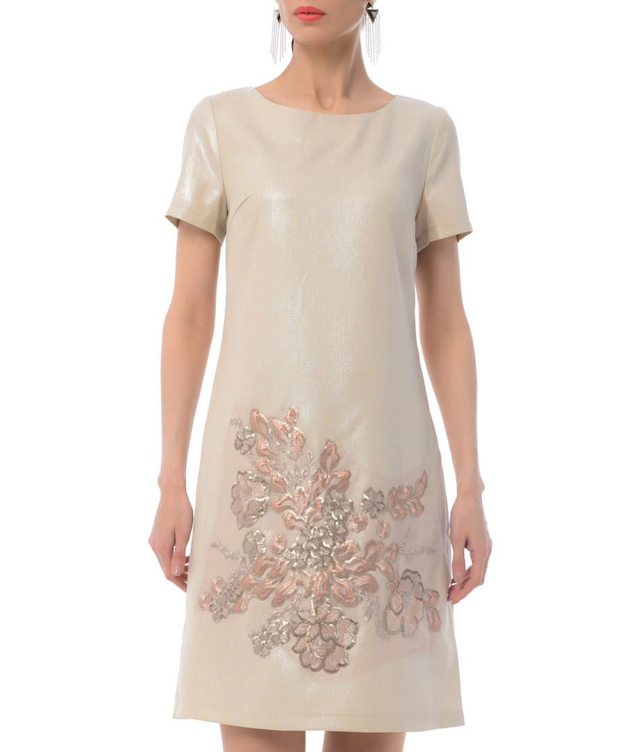 Beige floral cotton blend shift dress Sale - iren klairie