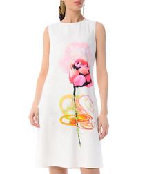 white floral cotton blend shift dress