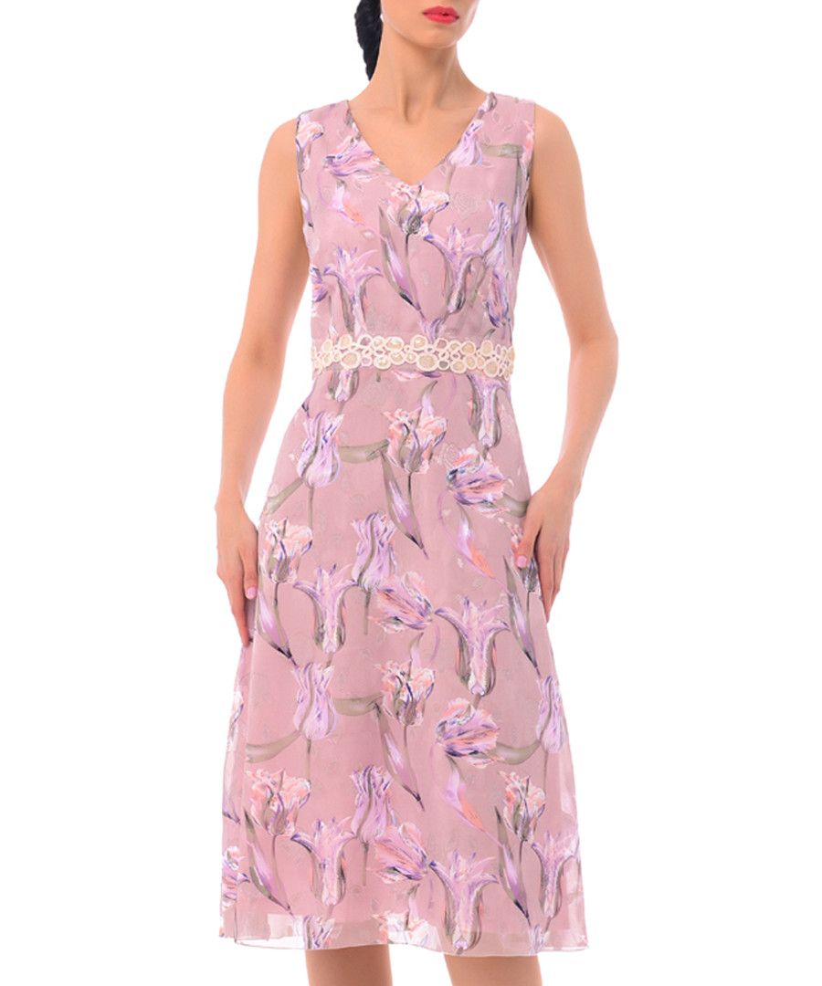 orchid silk blend V-neck dress Sale - iren klairie