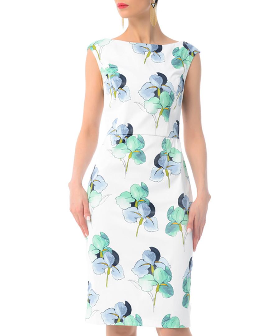 white & aqua floral cotton blend dress Sale - iren klairie