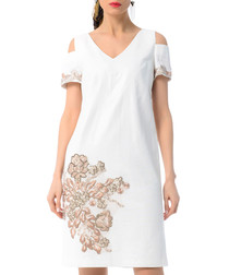white cotton & linen cold-shoulder dress