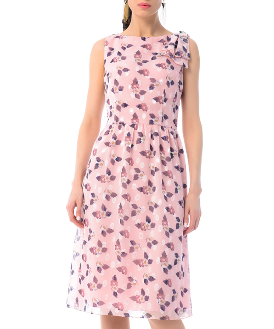 pale pink polka silk blend dress Sale - iren klairie