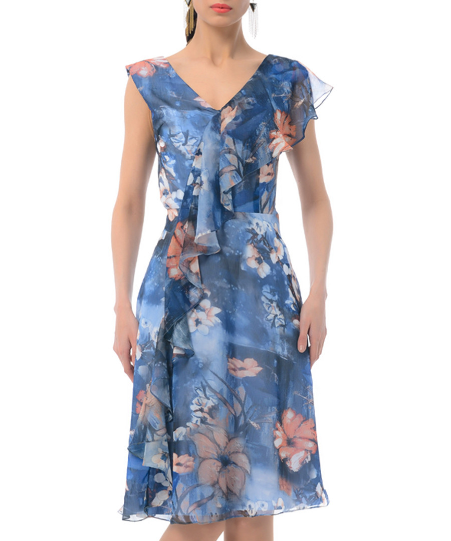 blue floral silk blend V-neck dress Sale - iren klairie