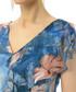 blue floral silk blend V-neck dress Sale - iren klairie Sale