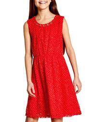 Red lace sleeveless dress