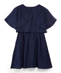 Navy winged sleeve mini dress