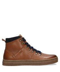 tan leather hook sneakers