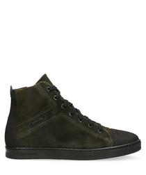 Dark olive suede high sneakers