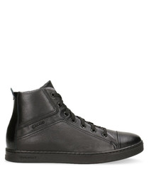 Black leather high sneakers