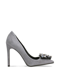 Dark grey embellished suede stilettos