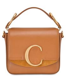 chloe c mini tan calfskin shoulder bag