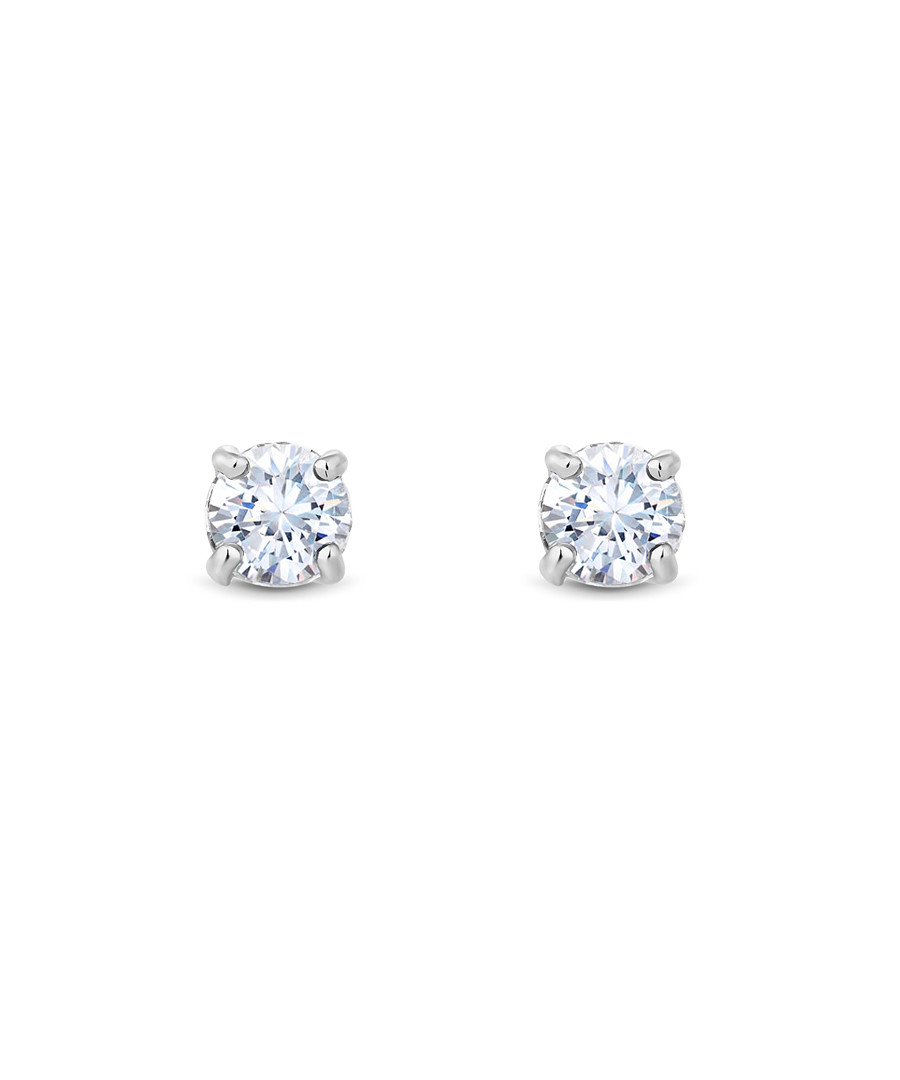 Solitaire 14k white gold-plated earrings Sale - diamond style