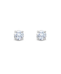 Solitaire 14k white gold-plated earrings