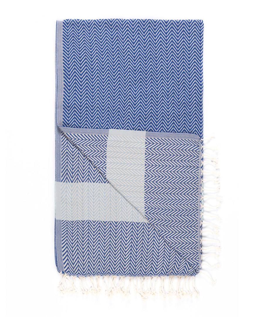 Handloom blue chevron pure cotton towel Sale - hamam
