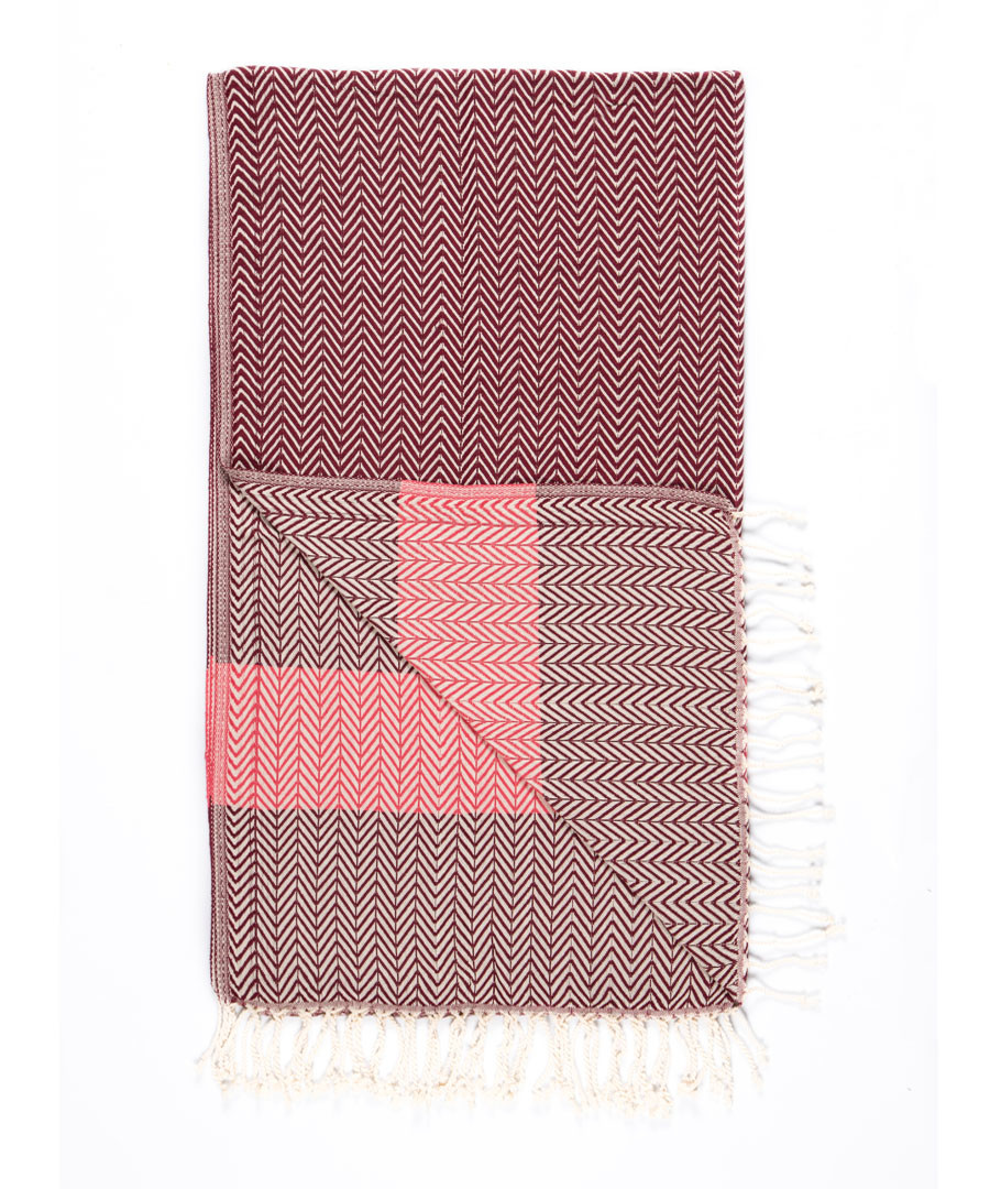 Handloom burgundy pure cotton towel Sale - hamam