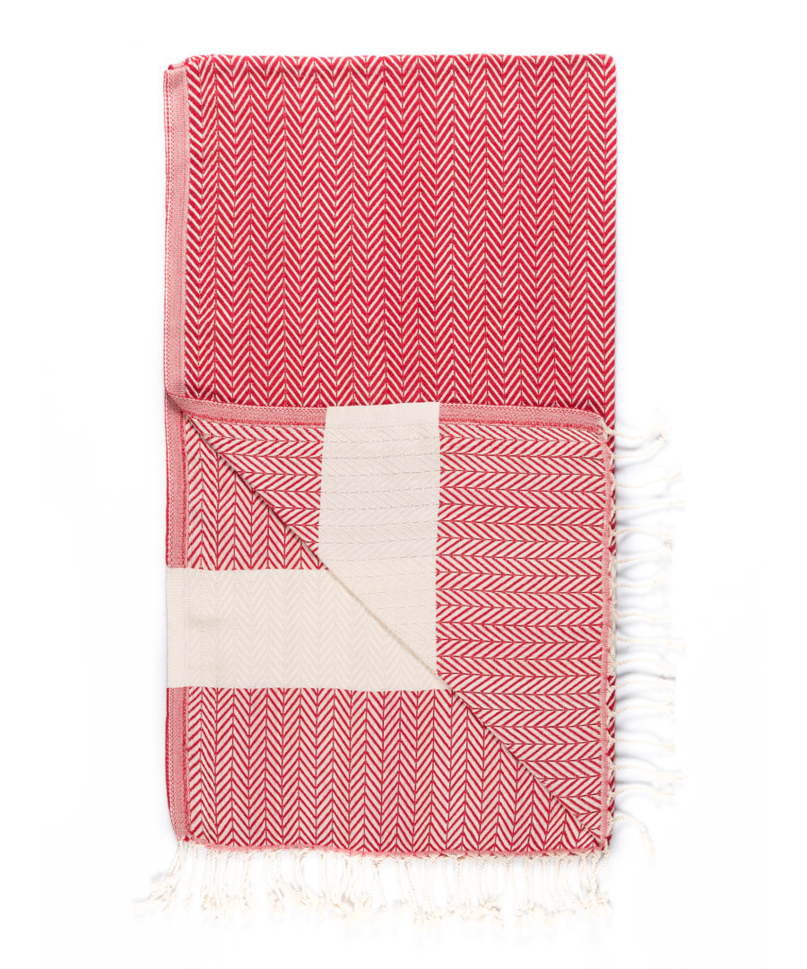 Handloom red & white pure cotton towel Sale - hamam