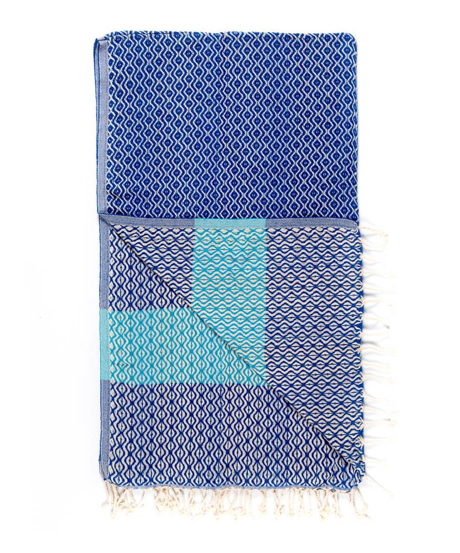 Handloom blue tile pure cotton towel Sale - hamam