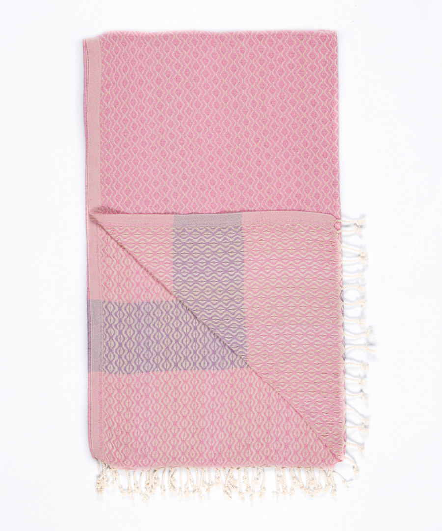 Handloom pink tile pure cotton towel Sale - hamam