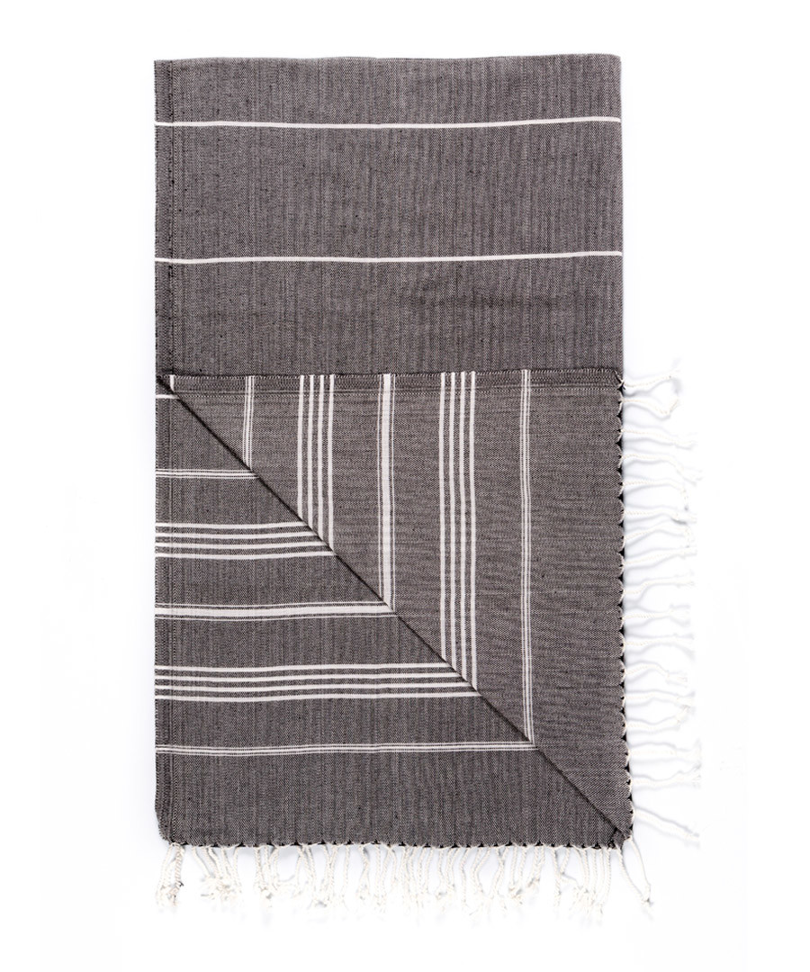 Handloom graphite stripe cotton towel Sale - hamam