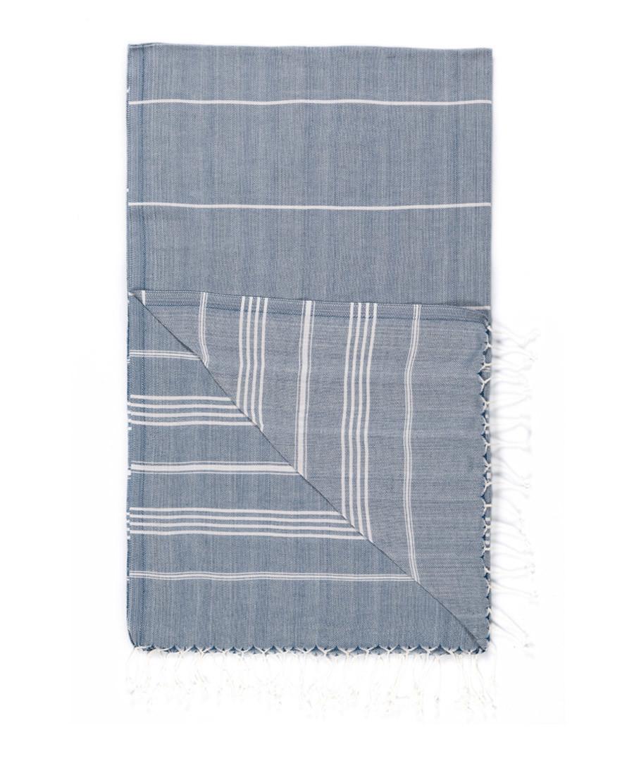 Handloom pewter stripe cotton towel Sale - hamam