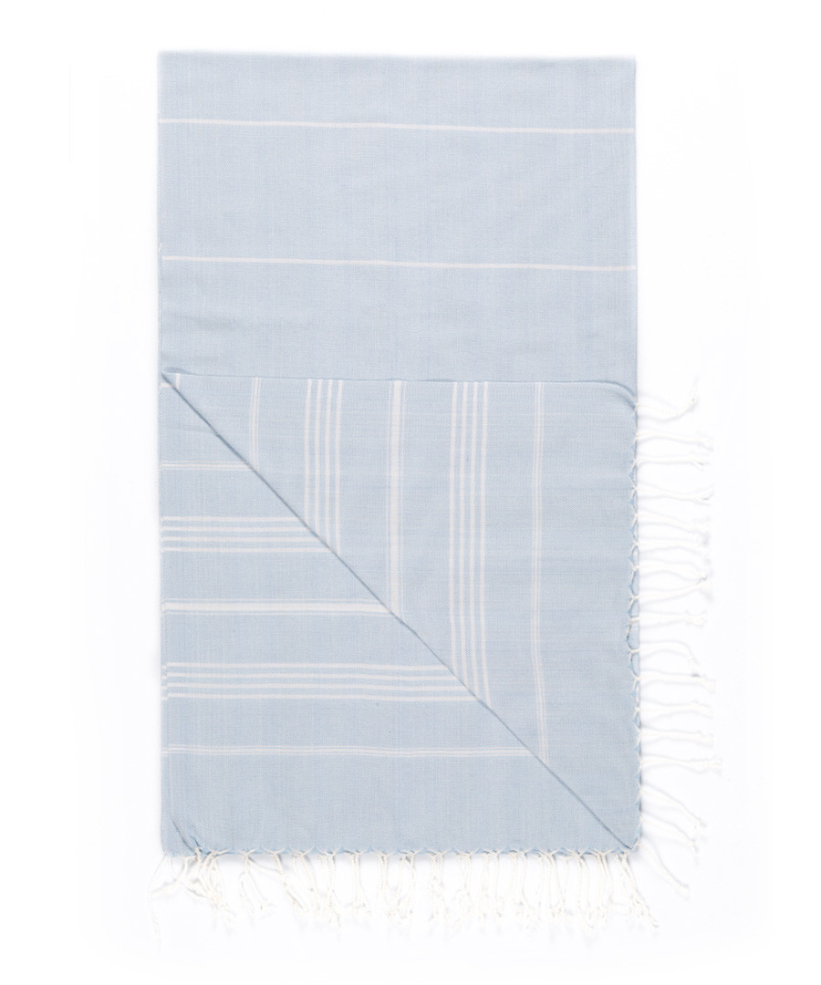 Handloom pale blue stripe cotton towel Sale - hamam