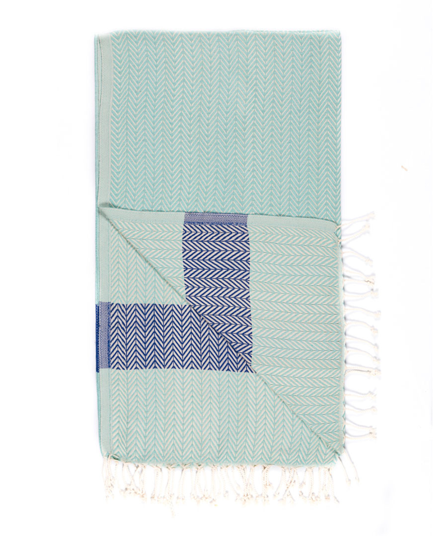 Handloom aqua chevron pure cotton towel Sale - hamam