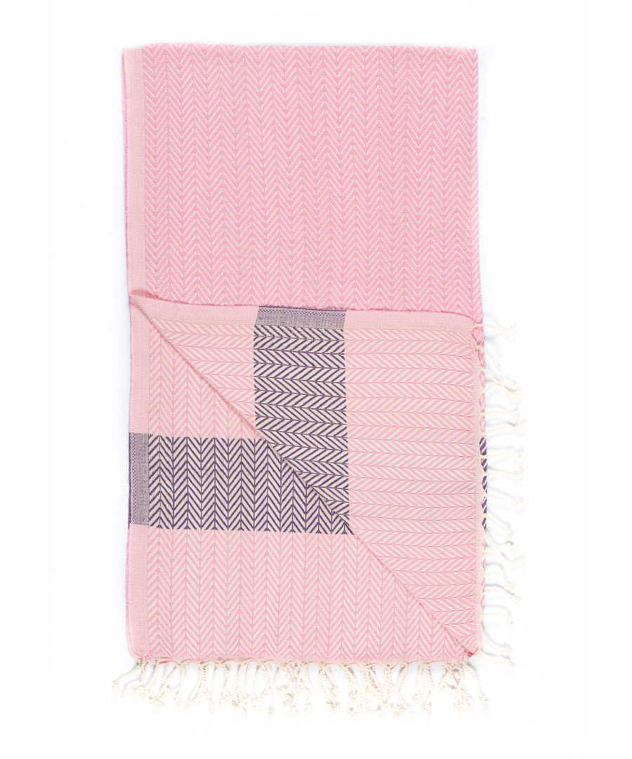 Handloom rose chevron pure cotton towel Sale - hamam