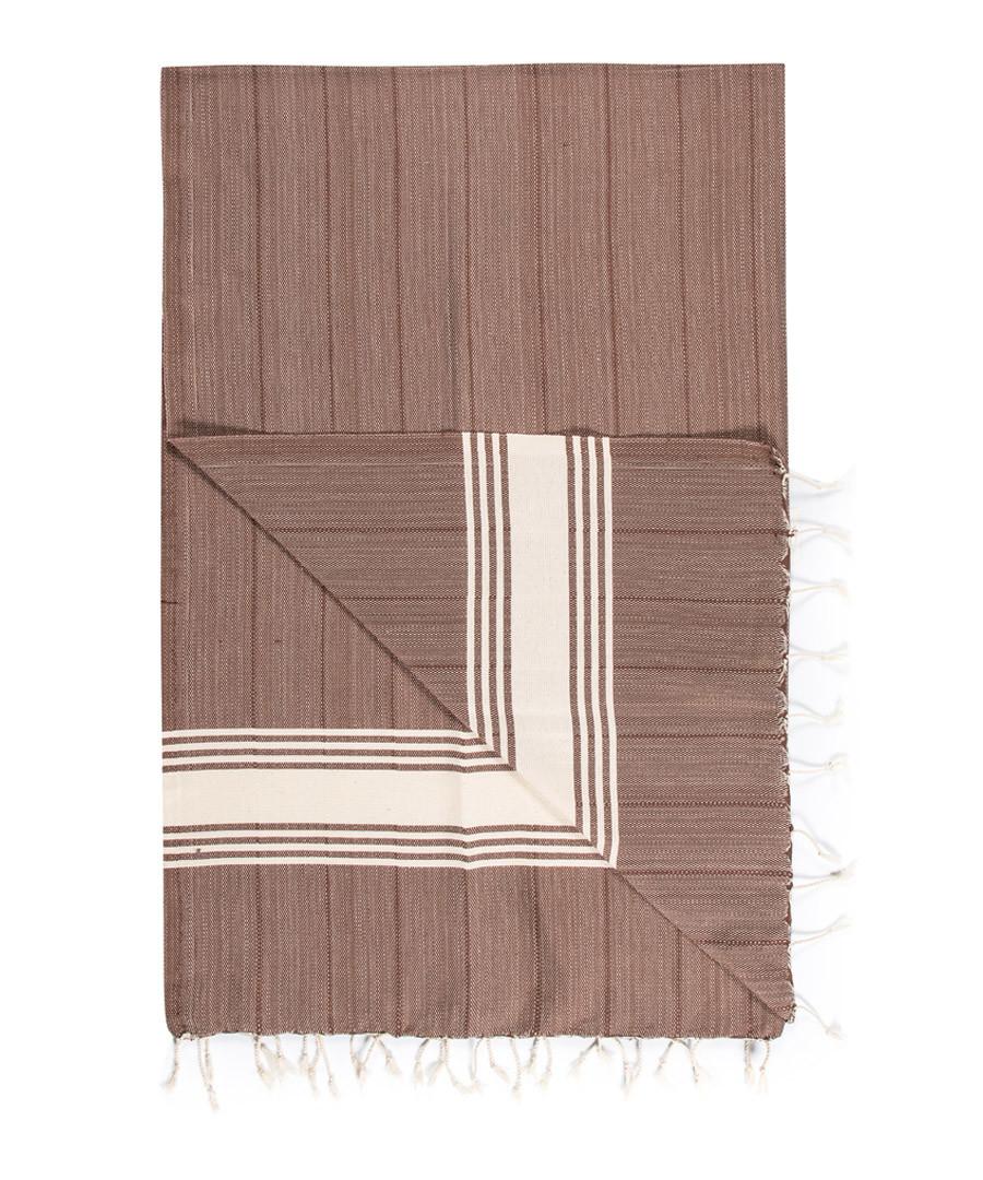 Handloom brown stripe pure cotton towel Sale - hamam