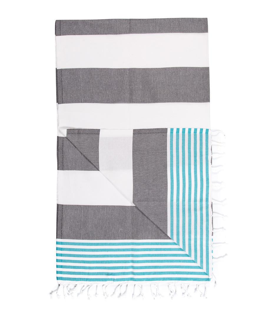 Handloom grey bars pure cotton towel Sale - hamam