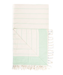 Handloom mint pure cotton stripe towel