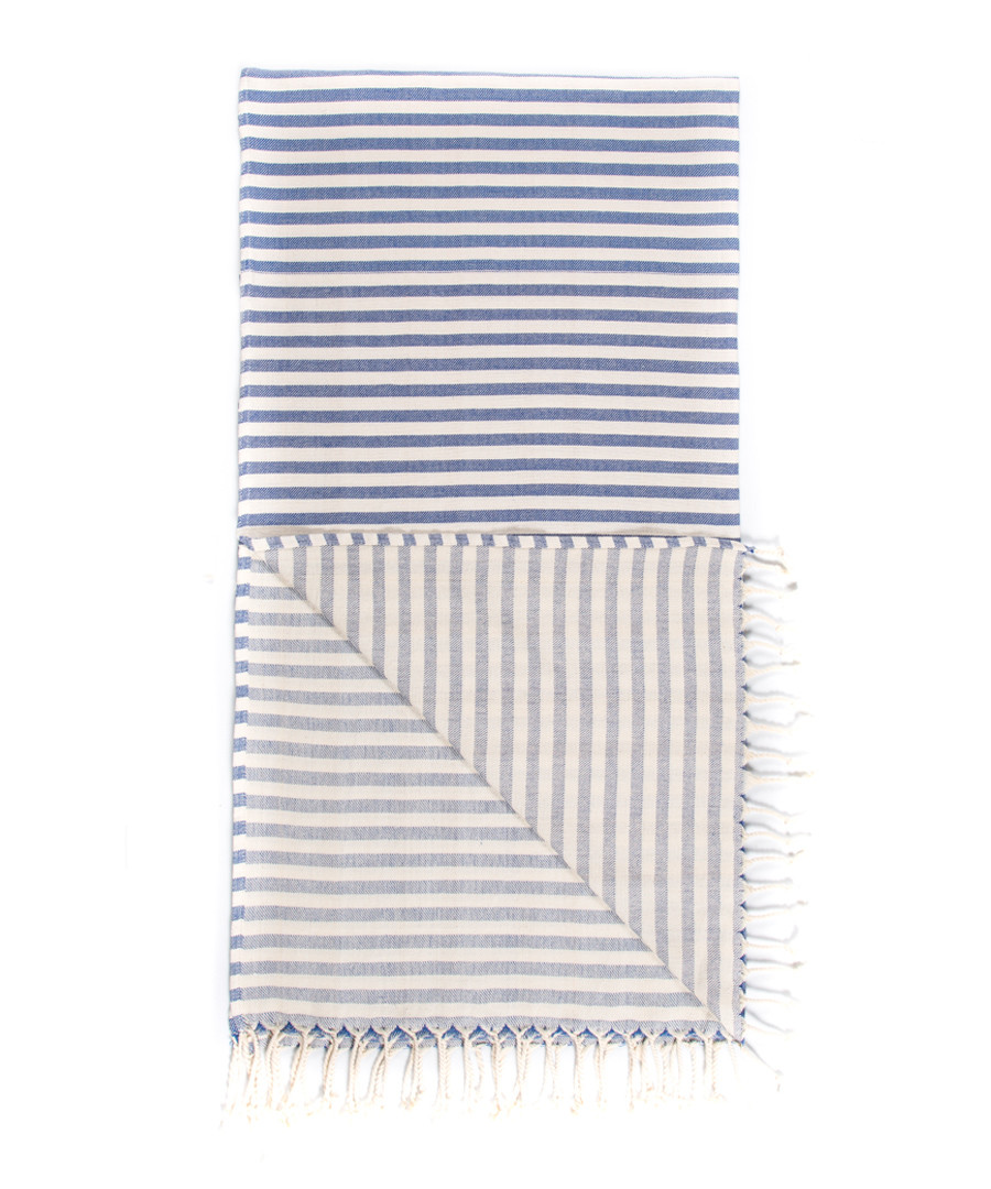 Handloom pewter stripe pure cotton towel Sale - hamam